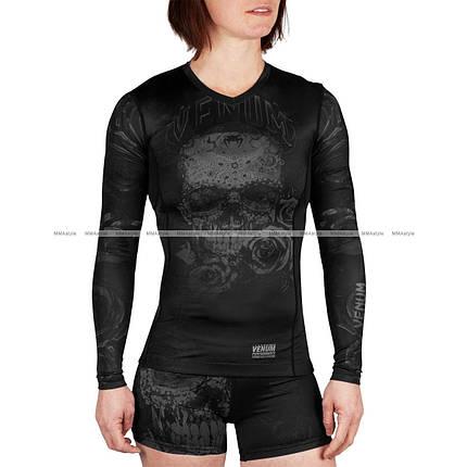 Женский рашгард Venum Santa Muerte 3.0 Long Sleeves Rashguard Black Black For Women, фото 2