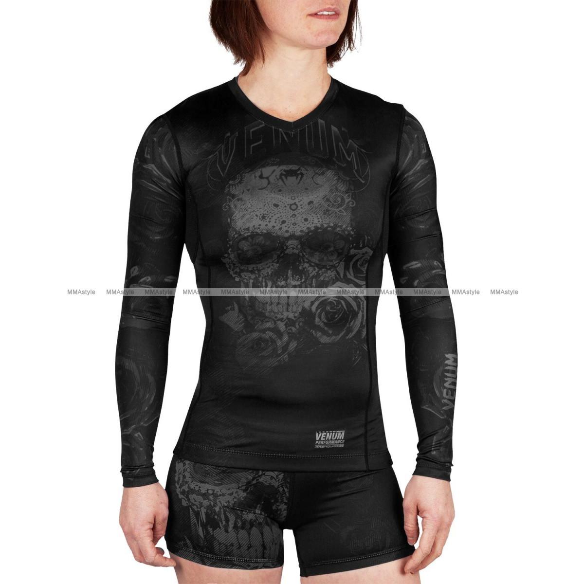 Женский рашгард Venum Santa Muerte 3.0 Long Sleeves Rashguard Black Black For Women