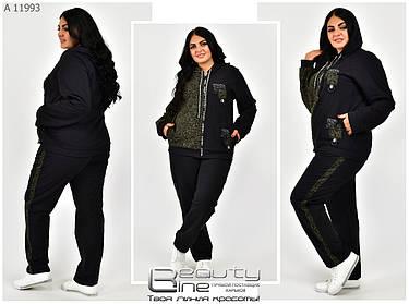 Модный женский спортивный костюм из двунитки и вставками из жаккарда с люрексом с 56 по 72 размер, фото 2