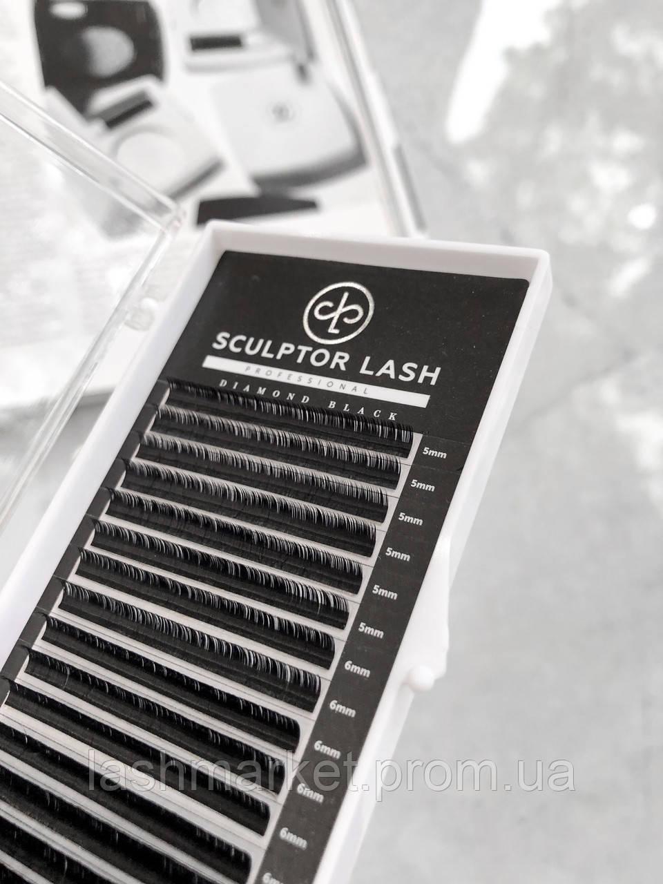 Вії ОТД ДОВЖИНА D 0.05 9 мм Sculptor Lash Diamond Black чорні(для нарощування вій)