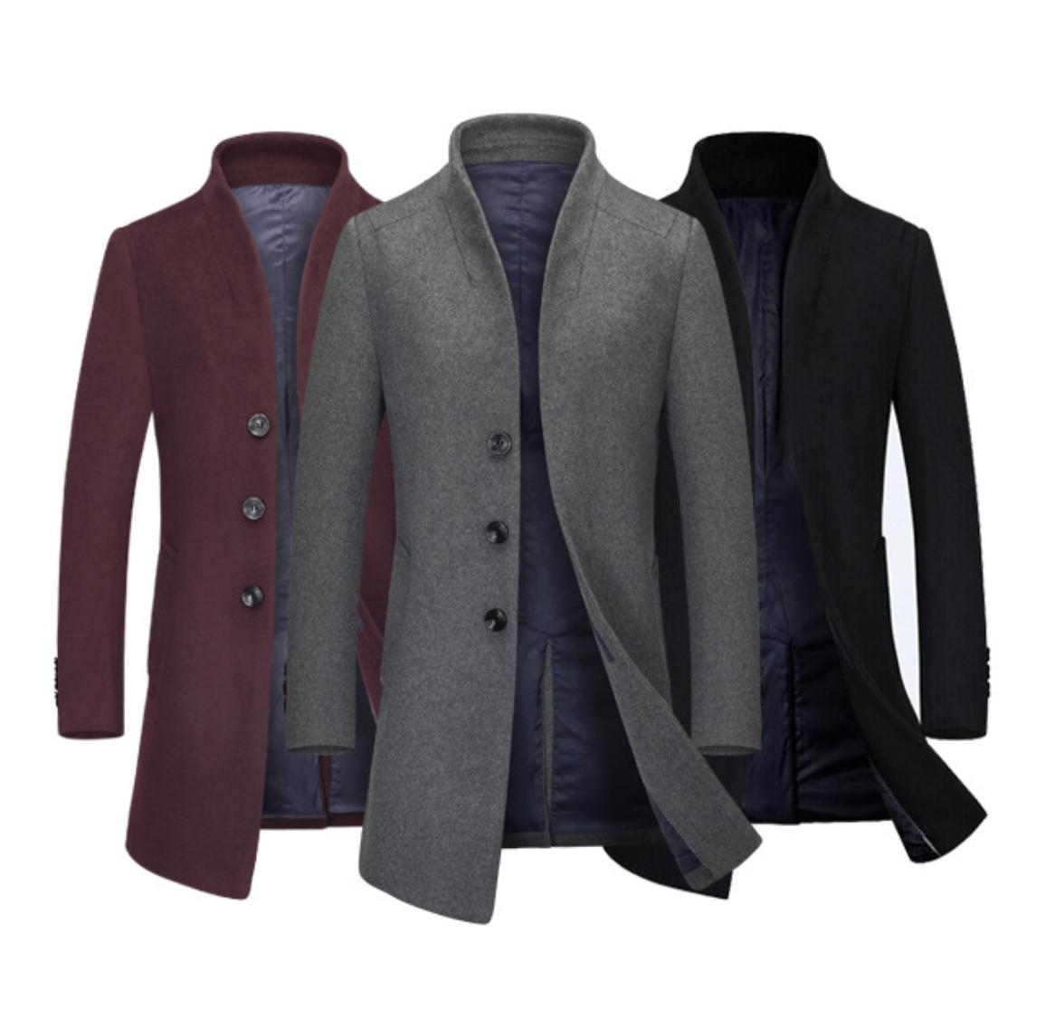 Мужское шерстяное весеннее пальто. Модель 6343
