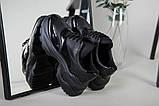 Кроссовки женские кожаные черные с вставкой имитации под рептилию, фото 2