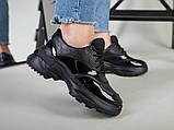 Кроссовки женские кожаные черные с вставкой имитации под рептилию, фото 7