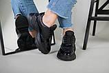 Кроссовки женские кожаные черные с вставкой имитации под рептилию, фото 9