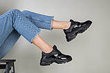 Кроссовки женские кожаные черные с вставкой имитации под рептилию, фото 5