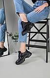 Кроссовки женские кожаные черные с вставкой имитации под рептилию, фото 8