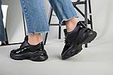 Кроссовки женские кожаные черные с вставкой имитации под рептилию, фото 6