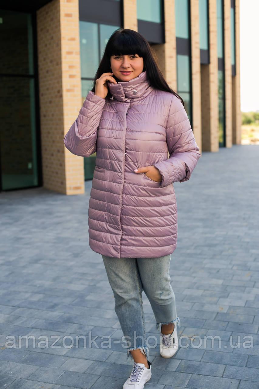 Осенняя женская куртка со съемным рукавом 3/4 больших размеров - модель 2020- (кт-491)