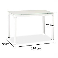 Кухонный стеклянный стол Galant 110x70см белый прямоугольный Signal Польша