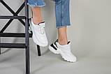 Кроссовки женские кожаные белые с вставкой имитации под рептилию, фото 6