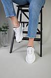 Кроссовки женские кожаные белые с вставкой имитации под рептилию, фото 10
