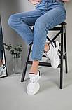 Кроссовки женские кожаные белые с вставкой имитации под рептилию, фото 9