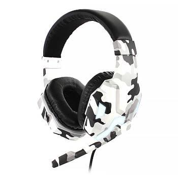 Проводная гарнитура SOYTO SY830MV Camouflage Grey с микрофоном для общения по скайпу компьютерная для геймеров