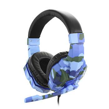 Проводная гарнитура SOYTO SY830MV Camouflage Blue с микрофоном для общения по скайпу компьютерная для геймеров
