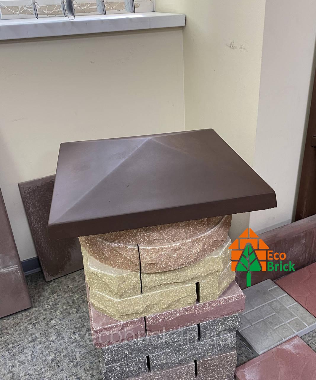 Крышка на столбик кирпичный «ПРЯМА» 580х580 мм. цвет коричневый, вес 40 кг.