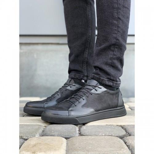 Мужские кеды Valers 057 черные кожаные весна-осень