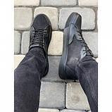 Мужские кеды Valers 057 черные кожаные весна-осень, фото 2