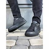 Мужские кеды Valers 057 черные кожаные весна-осень, фото 3