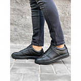 Мужские кеды Shamrock 10.110 черные кожаные весна-осень, фото 3