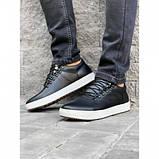 Мужские кожаные кеды Step Wey 5546 черные с серой подошвой весна-осень, фото 3