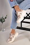 Кроссовки женские кожаные бежевые на массивной подошве, фото 3