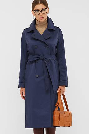 Стильный плащ женский синего цвета в размерах от 46 до 54, фото 2