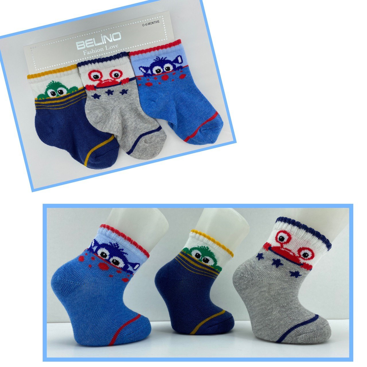 Носки хлопковые для малышей 0-6 мес ТМ Belino 4489612730198