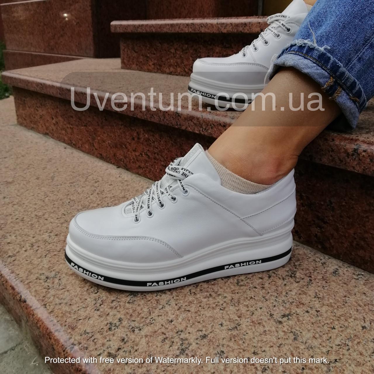 Белые женские кроссовки  кожаные высокие 36-40 белый