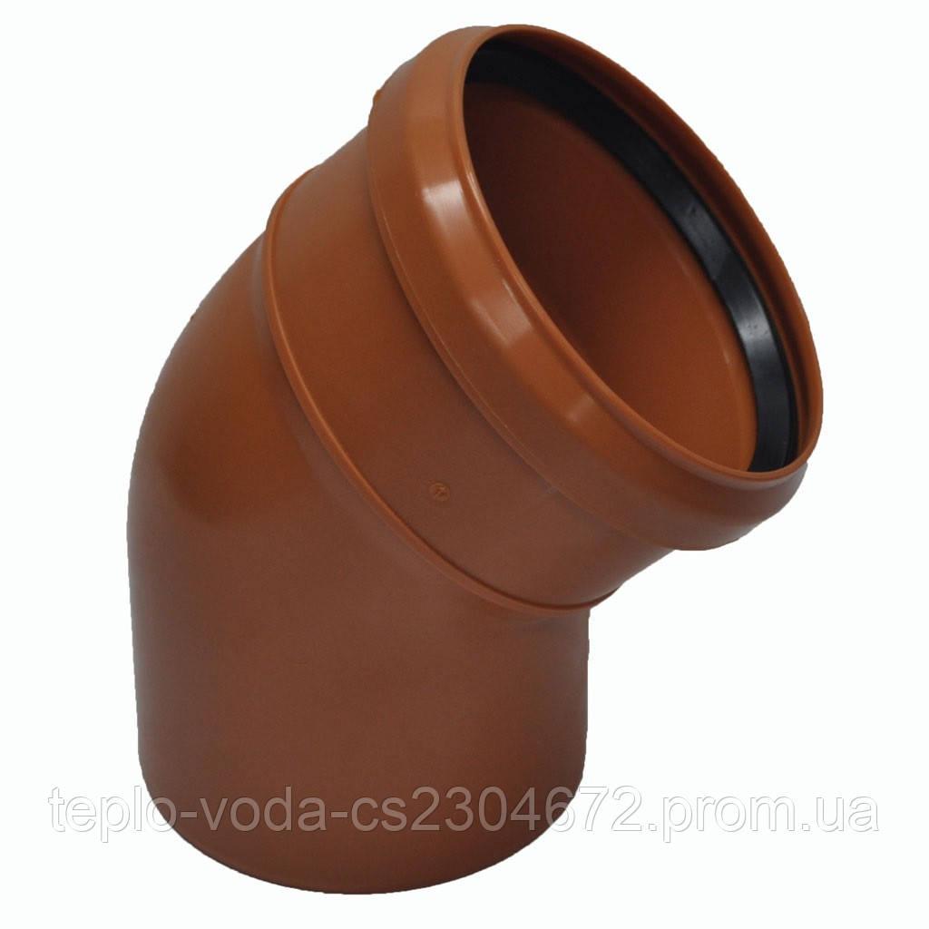 Колено ПВХ 110х45 для канализации