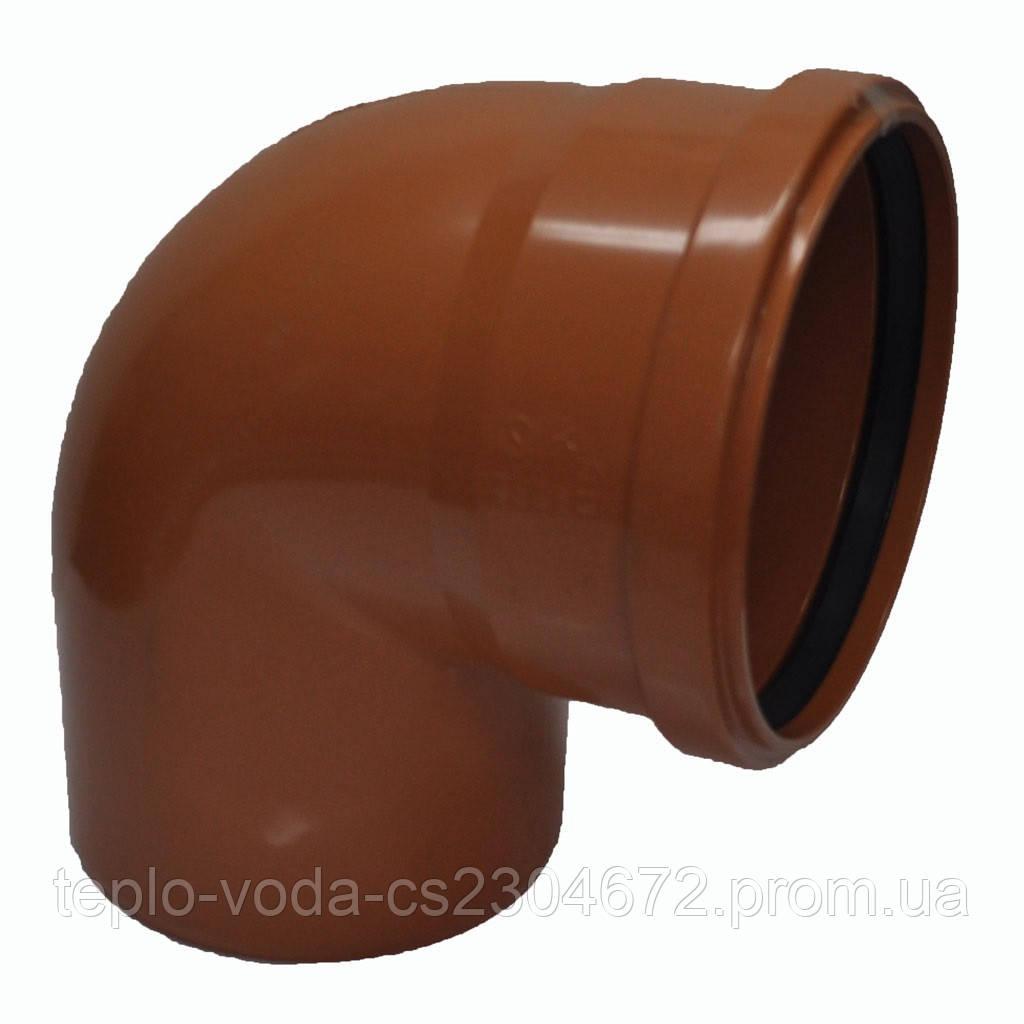 Колено ПВХ 110х90 для канализации