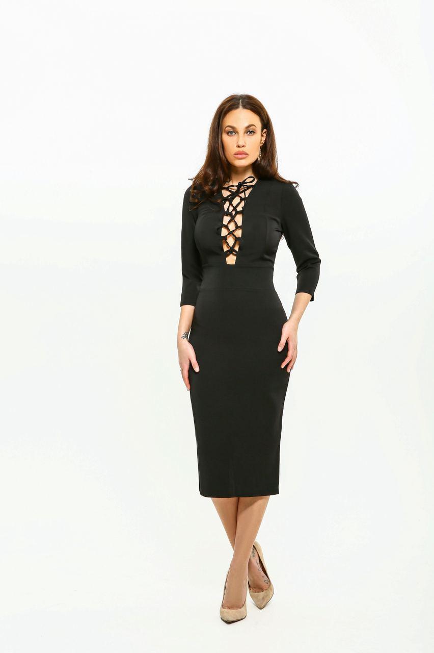 Сукня жіноча AniTi зі шнурівкою міді 105, чорний