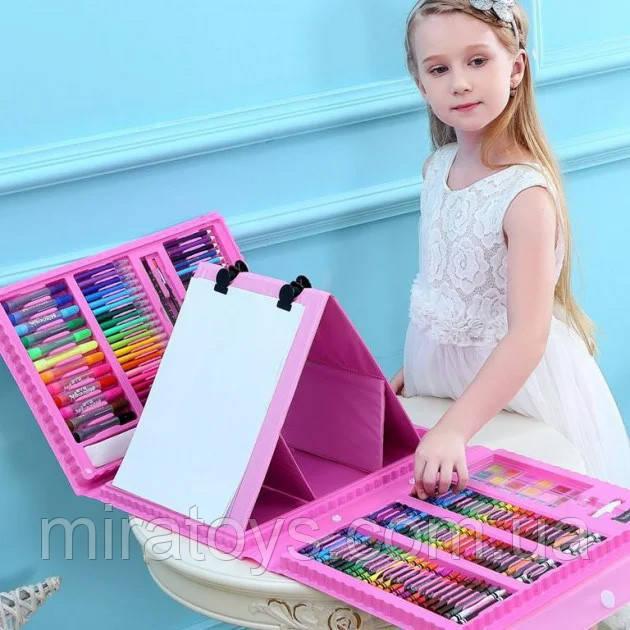 Набор юного художника для рисования и творчества в чемодане с мольбертом 208 предметов