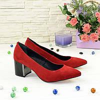 Туфли женские замшевые на устойчивом каблуке, цвет красный. 41 размер