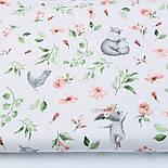 """Отрез ткани """"Бегемотики и зайчики с пудровыми цветочками"""" на белом,  №2850, размер 78*160 см, фото 2"""