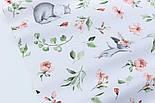 """Отрез ткани """"Бегемотики и зайчики с пудровыми цветочками"""" на белом,  №2850, размер 78*160 см, фото 3"""