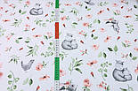 """Отрез ткани """"Бегемотики и зайчики с пудровыми цветочками"""" на белом,  №2850, размер 78*160 см, фото 4"""