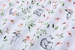 """Отрез ткани """"Бегемотики и зайчики с пудровыми цветочками"""" на белом,  №2850, размер 78*160 см, фото 5"""