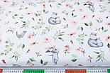 """Отрез ткани """"Бегемотики и зайчики с пудровыми цветочками"""" на белом,  №2850, размер 78*160 см, фото 6"""
