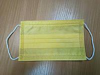 Детская Маска защитная одноразовая желтая трехслойная - Цветная защитная маска - Есть ОПТ и Безнал