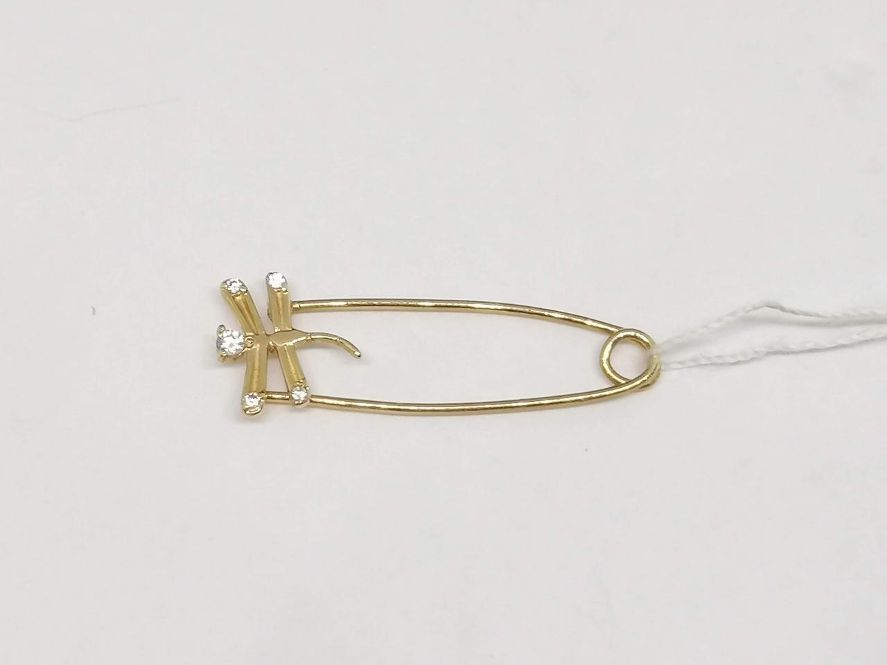 Золотая брошь-булавка с фианитами. Артикул 160307
