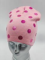 """ОПТ, Дитяча шапочка для дівчинки """"Горох"""", без зав'язок, фото 1"""