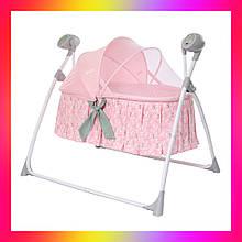 Детская люлька кроватка и укачивающий центр для новорожденных 2 в 1 Carrello CRL-7501 Bow Pink розовый