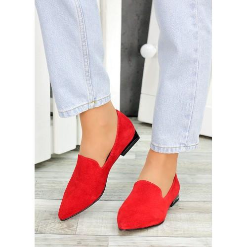 Туфли лодочки красная натуральная замша