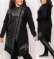 Спортивый женский теплый костюм с кардиганом и леггинсами батальный Турция 8895 чёрный