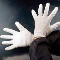 Белые безворсовые перчатки для работы с пленкой ПВХ