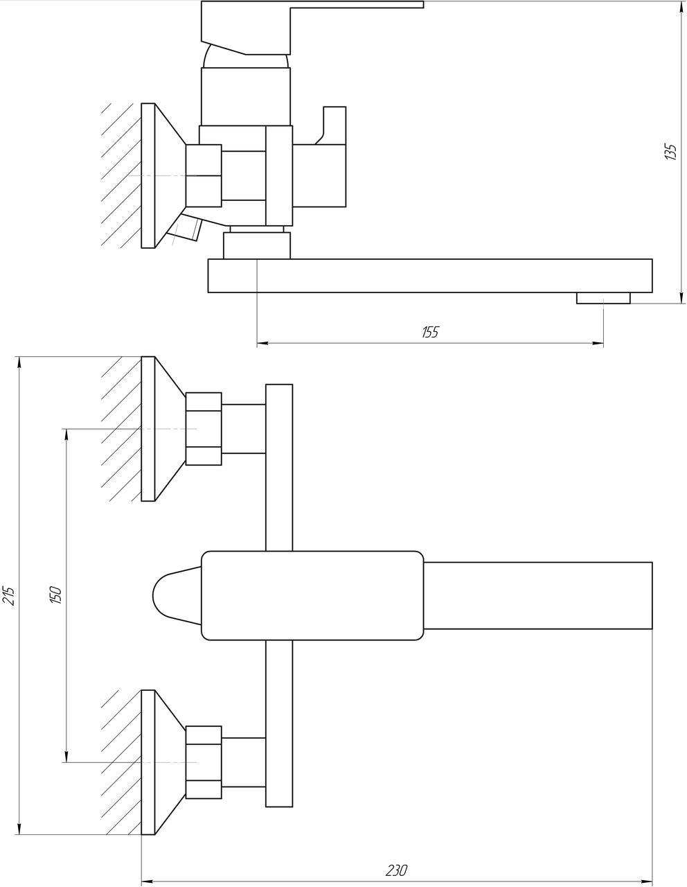 Смеситель для ванны Globus Lux Milano GLM-102N