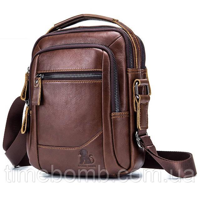 Мужская кожаная наплечная сумка барсетка Laoshizi Luosen коричневая 042
