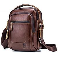 Мужская кожаная наплечная сумка барсетка Laoshizi Luosen коричневая 042, фото 1