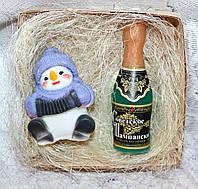 """Новогодний набор мыла ручной работы """"Снеговик с гармошкой и шампанское"""""""