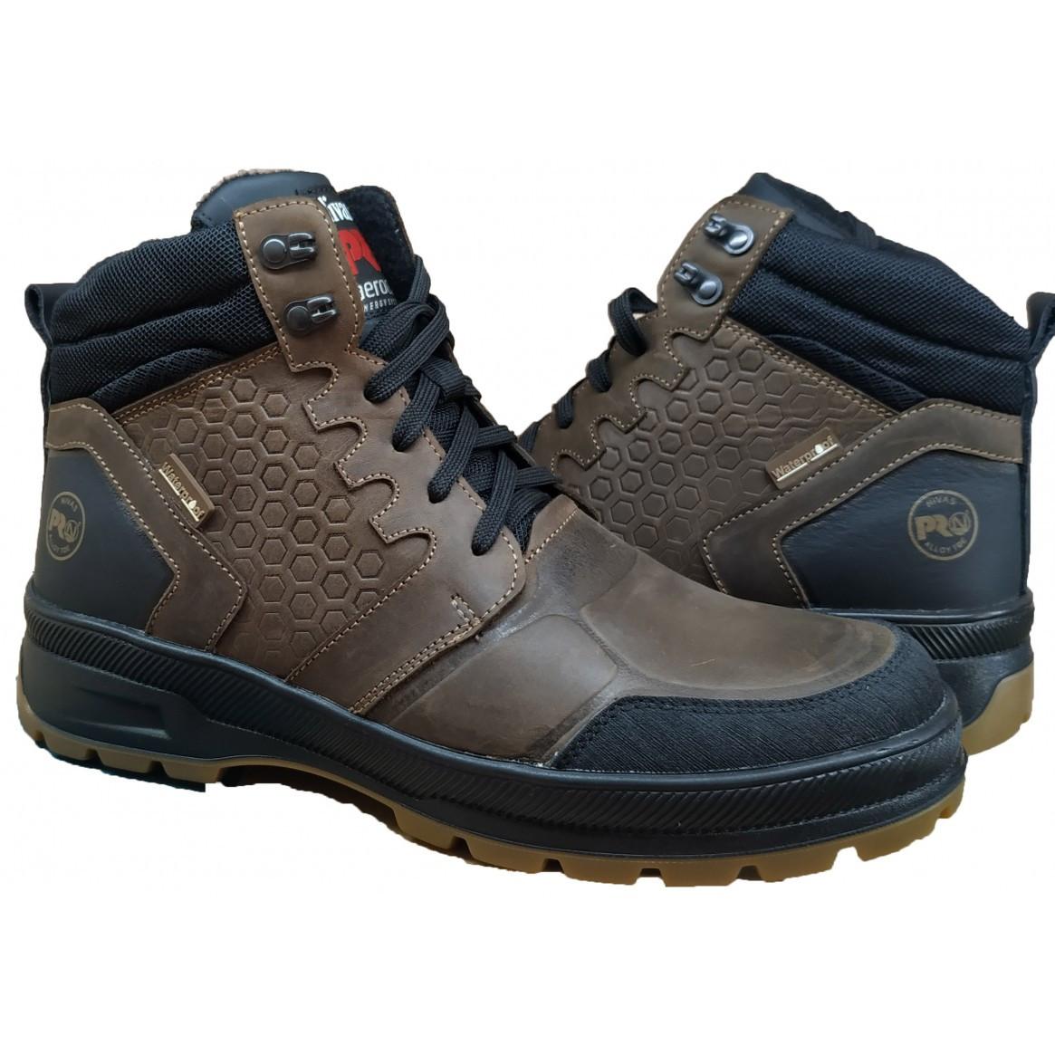 Кожаные мужские ботинки  на меху 40-45 коричневый крейзи